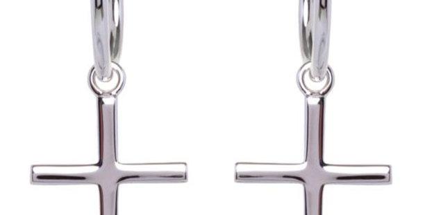 Baby Cross Hoops Silver