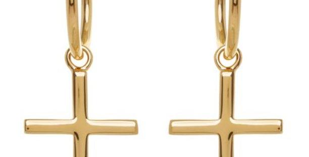 Baby Cross Hoops Gold