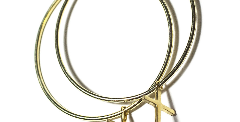 Cross Hoops Gold