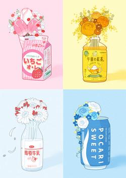 飲み物で育った花