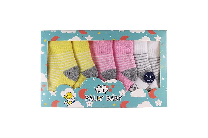 ถุงเท้าเด็กเล็ก 3 คู่แพ็ค ลายทาง Mini Stripe Bright Baby Girl Set