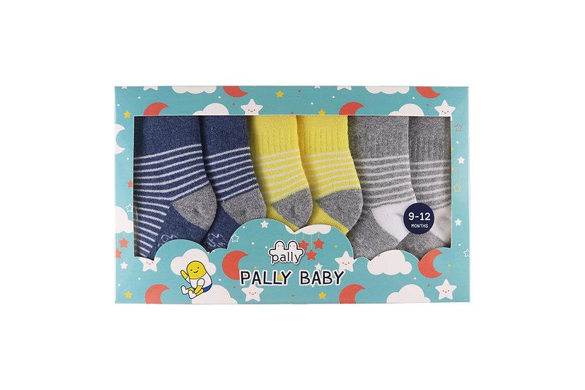 ถุงเท้าเด็กเล็ก 3 คู่แพ็ค ลายทาง Mini Stripe Unisex Sunshine Set