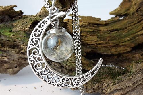 Halskette Pusteblume in Glasperle Mond