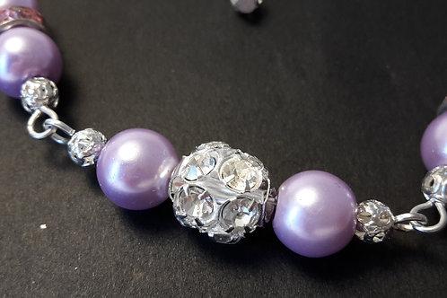Halskette Perlen Lila
