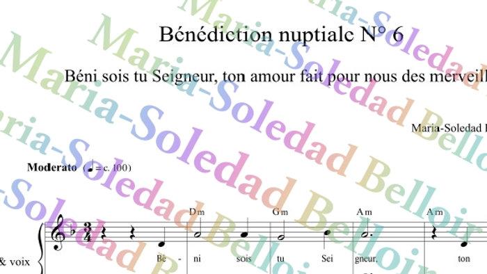 Bénédiction Nuptiale N°6 Bénis sois tu Seigneur ton amour fait  - orgue et voix