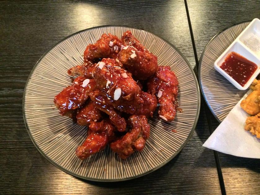 Dakgangjeong Anju- Korean spicy fried chicken- taken with drinks