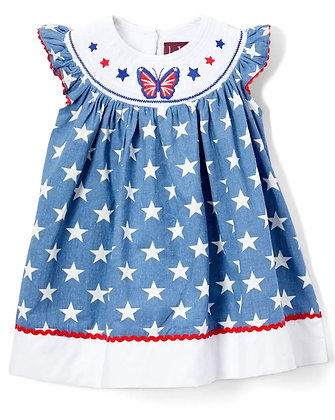 Red, White, & Butterfly Smocked Dress