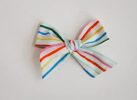Rainbow Stripe Hand Tied Bow