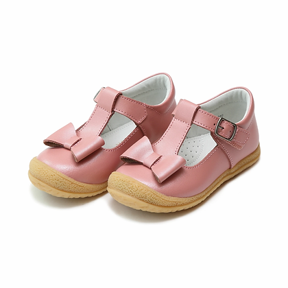 L'Amour Rose Shimmer Bow T-strap Mary