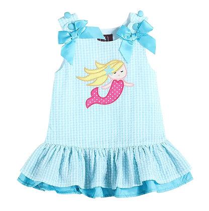 Gingham Mermaid Applique Swing Dress