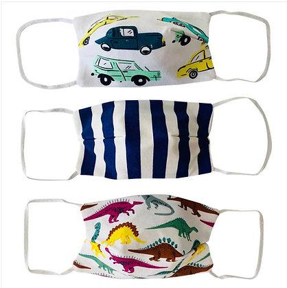 3pk Face Masks Cars & Dinosaurs