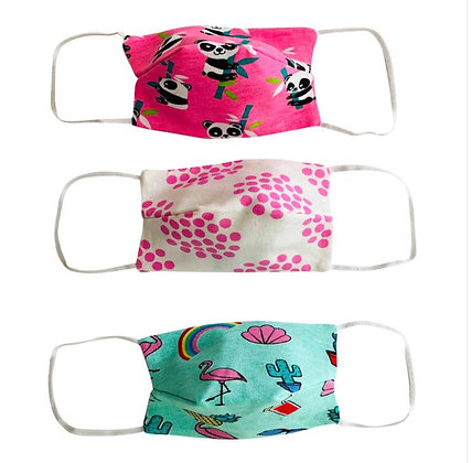 3pk Face Masks Pandas & Flamingos