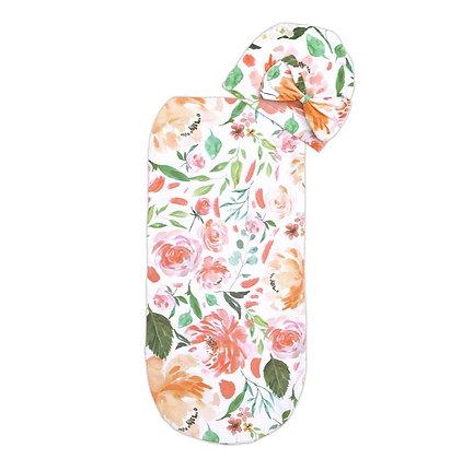 Peach Floral Cutie Cocoon™ & Hat Set