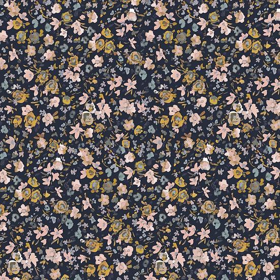 Just Flowers navy | Biojersey | 0.5m