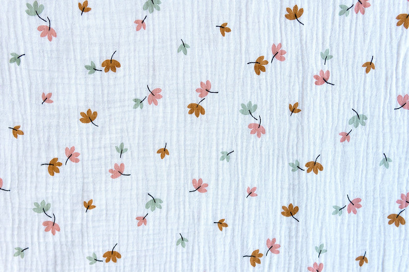 Leaves weiß | Musselin | 0,5m