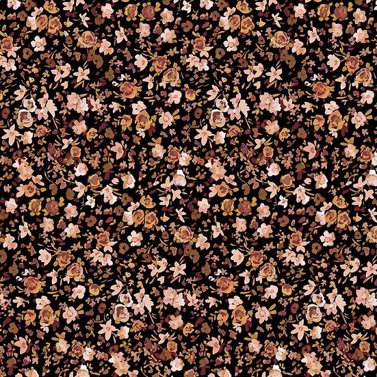Just Flowers schwarz   Biojersey   0.5m