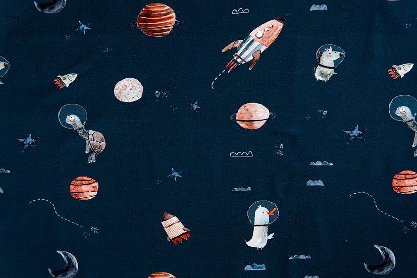 Spacewelt nachtblau | Biojersey | 0,5m