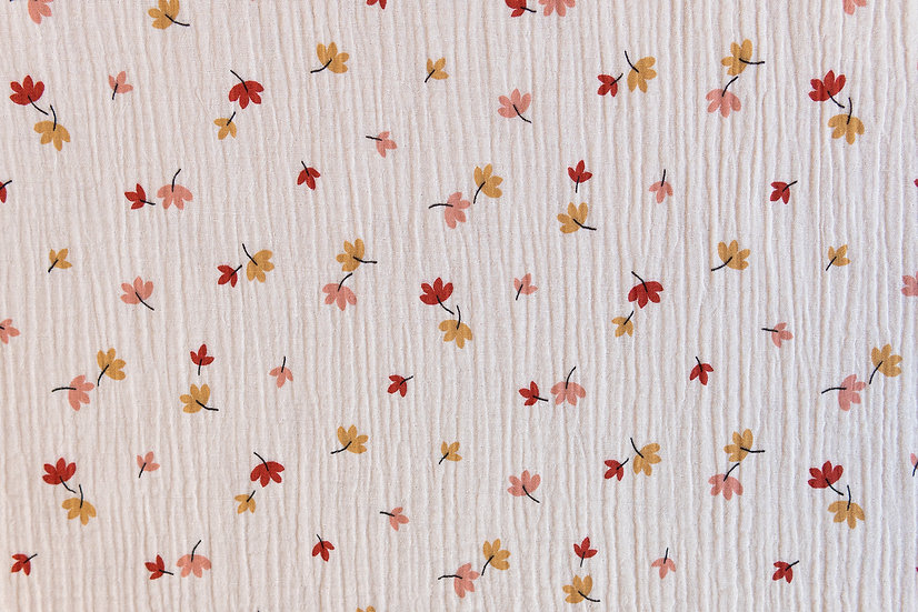 Leaves creme   Musselin   0,5m