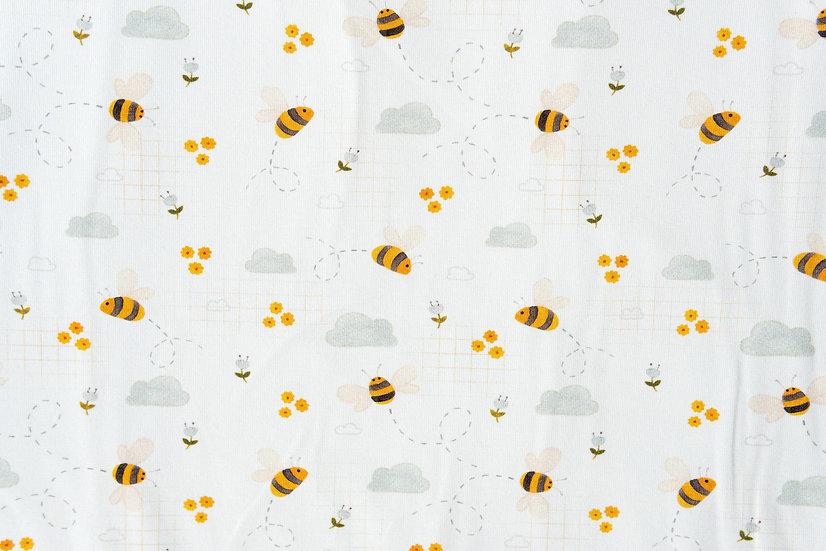 Bees weiß | Biojersey | 0,5m