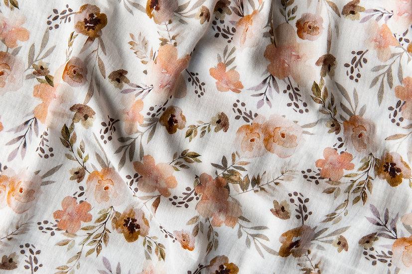 Watercolour Flowers weiß | Musselin | 0,5m
