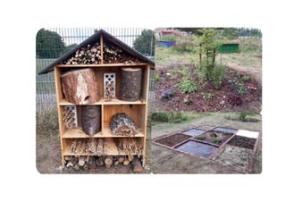 Der Schulgarten bekommt Zuwachs – Insekten ziehen ins Hotel und Kinder genießen den neuen Barfußpfad