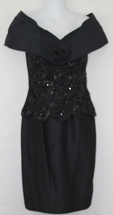 8. Black Small Strapless Evening Dress w/ Sequins