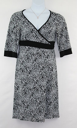 92. Black & White Floral Design Wrap Around Dress