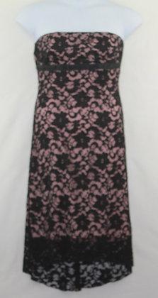 50. Black & Pink Lace Patterned Strapless Dress