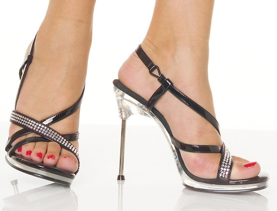 "Pleaseer 4 1/2"" Stiltto Heel Criss Cross Sandal"