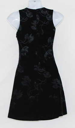 1. Black Velvet Dress w/ Floral Pattern