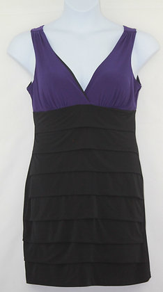 54. Black & Purple Layered V Neck Dress