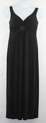 67. Beautiful Black Evening Gown w/ Beaded Broach
