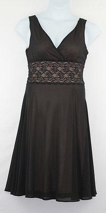 61. Black Shear & Tan V Neck Dress