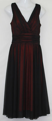 45.  Black Sheer Over Red V Neck Evening Gown