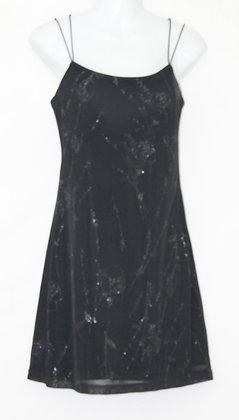 17. Black double Strap Glitter Floral Design Dress