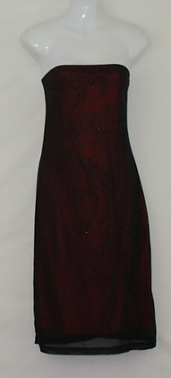 16. Hot Lil Red w/ Black Lace Strapless Dress