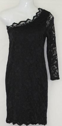 33.  Black One Sleeved Mini Cocktail Dress