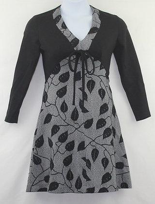 48. Black Dress w/ floral print & Crop top jacket