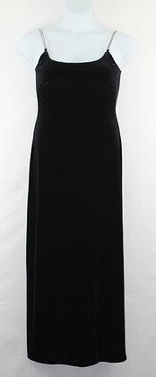 63. Black Velvet Evening Gown w/ Rhinestone Straps