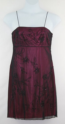 86. Hot Pink w/ Black Beaded Sheer Dress