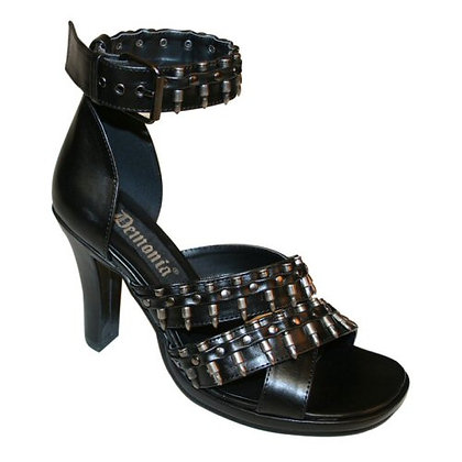 "Demonia 3 3/4"" Heel Military Sandal w/ Bullets"