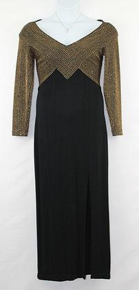 89. Exquisite Black & Gold Evening Gown