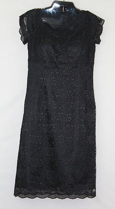 39 Black Floral lace w/ See Through Lace Sleeves
