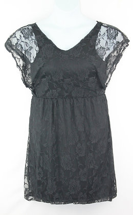 22. Black Floral Sleeveless Lace Dress