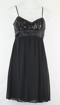 64. Cute Lil Black Dress w/ Sequins & Bow Tie