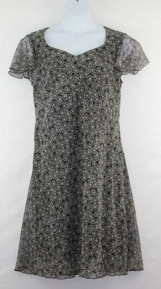 62. Black w/ White Floral Pattern Sun Dress