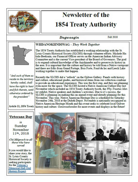 Article on SLCHS Featured in 1854 Treaty Authority Newsletter