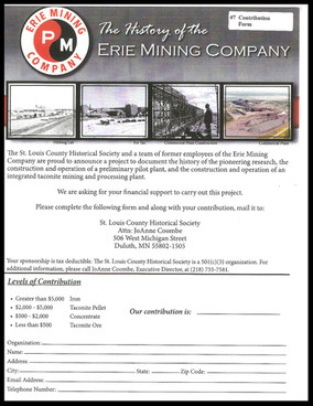 Donations to Support Erie Mining Co. Book