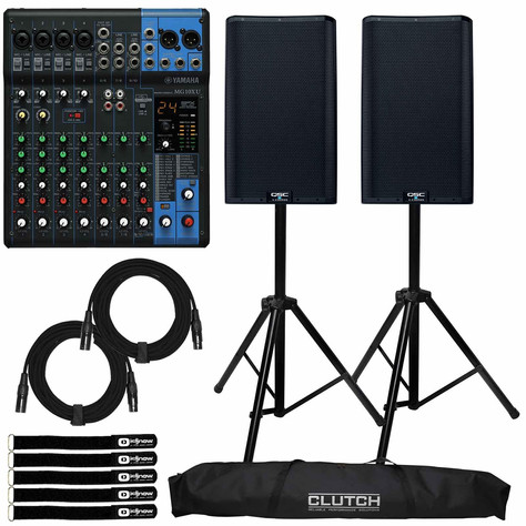 QSC K12 WITH 10 CHANNEL MIXER  $160/DAY