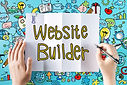 Website Builder text with hands and colo